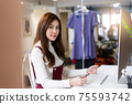 Entrepreneur, Young girl boutique owner, Clothing store, Young owner startup entrepreneur. Creative girl textile garment business SME. asian designer woman working with computer laptop. 75593742