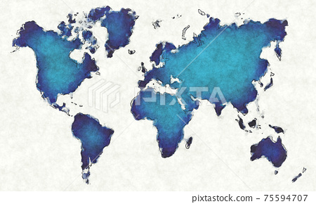 World map with drawn lines and blue watercolor illustration 75594707