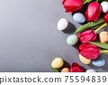 Pink tulips over gray background 75594839