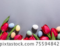 Pink tulips over gray background 75594842