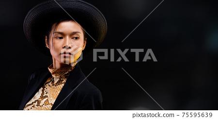 Fashion Portrait Profile Asian Woman fashionable item make up 75595639