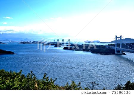 슈잔에서 보이는 세토 대교와 세토 나이 카이의 풍경 오카야마 현 쿠라 시키시 75596536