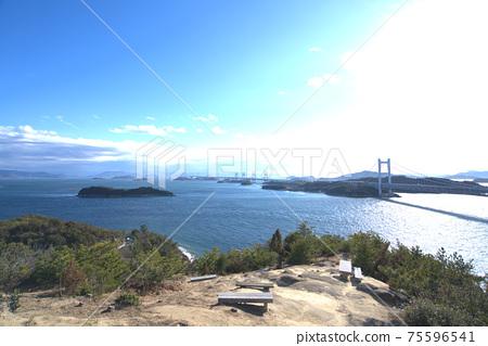 슈잔 휴게소 및 비산 세토와 세토 대교와 시코쿠 오카야마 현 쿠라 시키시 75596541