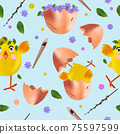 Seamless pattern with Easter chicken, flowers, eggs, pussy willow. Funny cartoon chickens for your design. Vector illustration 75597599