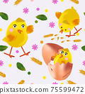 Easter chicken, flowers, eggs, green leaf, egg shell. Seamless pattern with cute cartoon chickens for your design textile, wallpapers, fabric, posters. Vector illustration 75599472