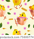 Easter chicken, flowers, eggs, green leaf, egg shell. Seamless pattern with cute cartoon chickens for your design textile, wallpapers, fabric, posters. Vector illustration 75600774
