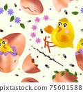 Seamless pattern with Easter chicken, flowers, eggs, green leaf, pussy willow. Cute cartoon chickens for your design textile, wallpapers, fabric, posters. Vector illustration 75601588