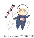 Vector illustration of a funny panda bear astronaut, constellations and letteing text EXPLORE 75602010