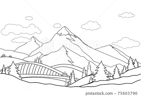 Line art, drawing of mountain  landscape vector illustration. Cartoon of spring summer beautiful nature, green grasslands meadow with  forest and mountains on horizon background . 75603790