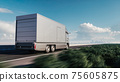 Delivery truck driving on the highway. Cargo delivery van. Cargo van driving on the highway to the city. 3d illustration 75605875