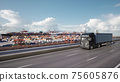 Cargo truck with container driving to the port. 3d illustration 75605876
