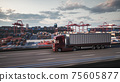 Cargo truck with white trailer. Cargo truck on the port terminal background. 3d illustration 75605877