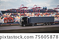 Cargo truck with container driving to the port. 3d illustration 75605878