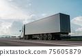 Modern cargo truck at sunset. 3d illustration 75605879