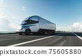 Semi-Truck with Cargo Trailer Moving on a Highway. Modern cargo truck at sunset. 3d illustration 75605880