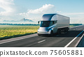 Cargo truck driving on a highway. 3d illustration 75605881