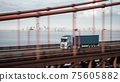 Cargo truck with container driving on the bridge. 3d illustration 75605882