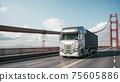Semi-Truck with Cargo Trailer. 3d illustration 75605886