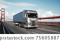 Cargo truck with container driving on the bridge. Semi-Truck with Cargo Trailer. 3d illustration 75605887