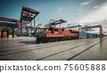 Container train in the port. Cargo train moving in the container terminal. 3d illustration 75605888