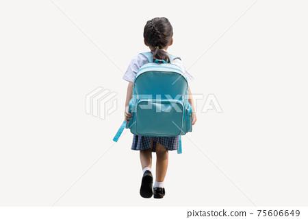 backyard of school girl back to school on white 75606649