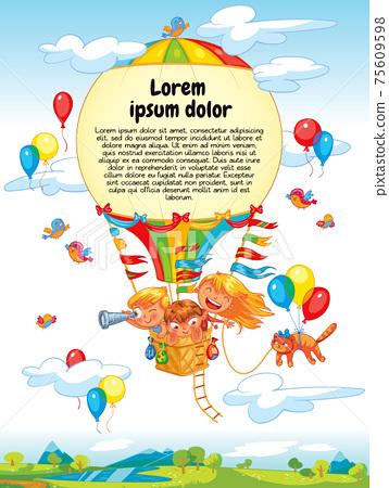 Cartoon kids riding hot air balloon 75609598