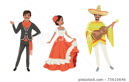 Mexican Men and Woman in Traditional National Clothes Set, Dancers and Musician Characters Cartoon Vector Illustration 75610646