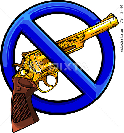 gold gun with symbol of ban vector illustration 75613544