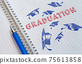 Concept of graduation 2021. Lettering in a school notebook 75613858