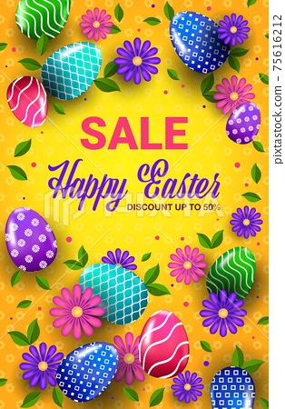 happy easter holiday celebration sale banner flyer or greeting card with decorative eggs and flowers 75616212