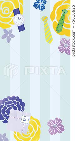 水彩撫摸花朵和男士物品條紋設計 75616625
