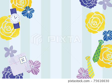 水彩撫摸花朵和男士物品條紋設計 75616630