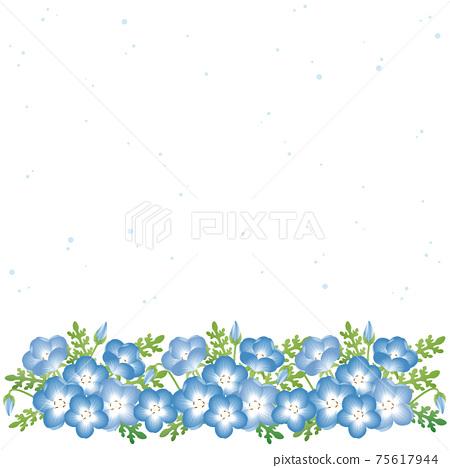 Nemophila青金石春天花框架背景複製空間插圖素材 75617944