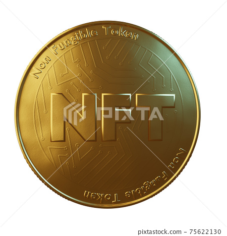Nft - non fungible token concept. 3d render - Large coin with inscription NFT 75622130