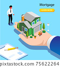 Character Buying Mortgage House and Shaking Hands with Real Estate Agent. 75622264