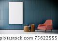 mock up poster frame in modern interior background, green living room, minimal style, 3D render, 3D illustration 75622555