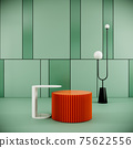 modern room interior design with round podiums and lamp on pattern green wall and floor, 3d rendering 75622556