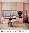mock up modern interior background, peach dining room with chair and dining table, minimal style, 3D render, 3D illustration 75622561