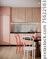 mock up modern interior background, peach dining room with chair and dining table, minimal style, 3D render, 3D illustration 75622563