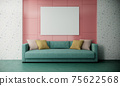 blank picture frame mock up in modern colorful living room interior with green sofa on pink and white wall, 3d rendering 75622568