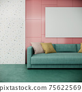 blank picture frame mock up in modern colorful living room interior design with green sofa on pink and white wall, 3d rendering background 75622569