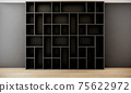 room interior with black shelves open cabinet on gray wall and wooden floor, 3d rendering 75622972