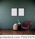 dark green living room interior background with red armchair, luxury living room interior with empty picture frames, 3d rendering 75622976