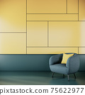 Living room interior with green fabric armchair on  yellow and green wall background. 3d rendering 75622977
