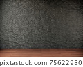 Empty room with black brick wall and wooden floor. 3d render illustration mock up interior. 75622980