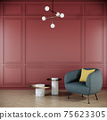 red wall with chair in modern interior background, living room, 3D render illustration 75623305