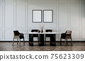 vertical picture frames mock up in modern retro dinning room interior with black chairs and dining table with wooden floor and white wall, 3d rendering 75623309