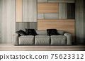 wood wall with gray sofa in modern interior background, living room,  3D render illustration 75623312