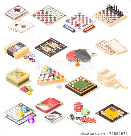 Board Games Isometric Icons Set 75623673