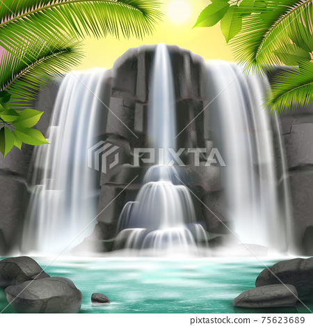 Waterfall Realistic  Background 75623689